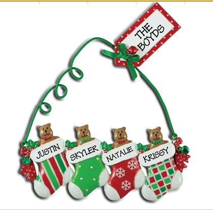 Personalised christmas ornaments for family of 4 uk for Family of 4 christmas ornament
