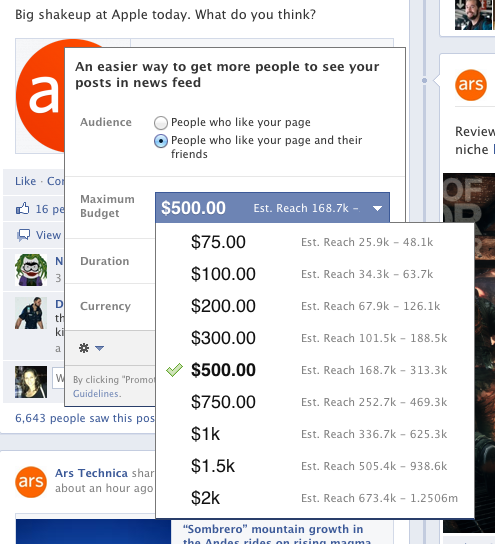 Some of the payment tiers to promote a Facebook post on Ars' page.
