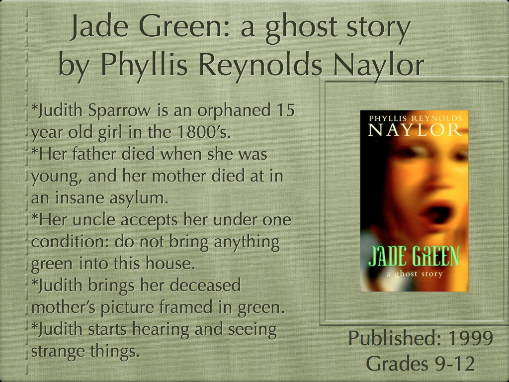 jade green a ghost story Jade green a ghost story by phyllis reynolds naylor available in mass market on powellscom, also read synopsis and reviews a newbery award-winning author presents the story of orphaned judith sparrow who arrives at her.