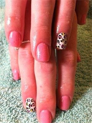 leopard print nail art as feats... 'candy cane pink' and lacy white with gold glitz spots LED-polish-manicure-OPI-Nail-Polish-Lacquer-Pedicure-care-natural-healthcare-Gel-Nail-Polish-beauty-Acrylic-Nails-Nail-Art-USA-UK