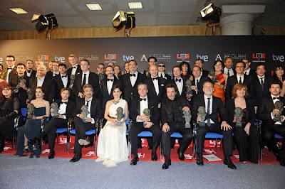 Foto de familia de los ganadores de los Premios Goya 2012
