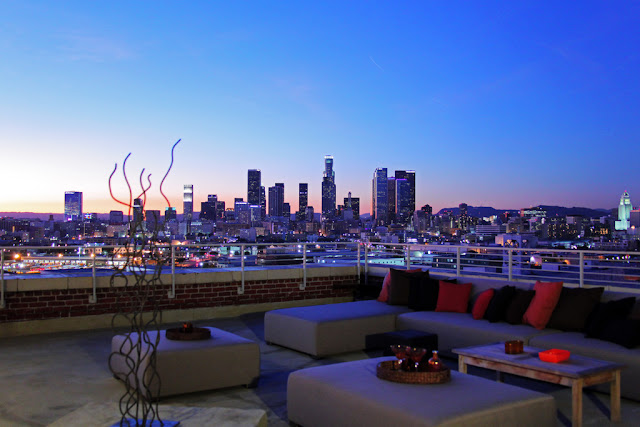 Photo of Los Angeles Downtown as seen from the rooftop terrace