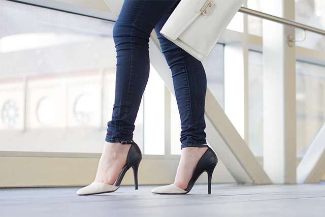 Two tone high heels with ankle strap from Le Chateau.