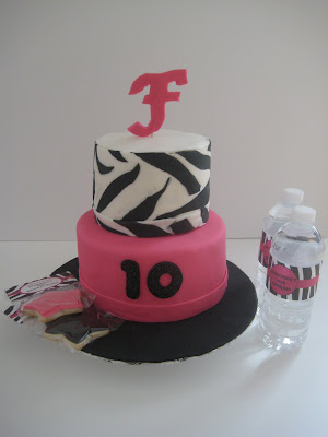pink and white zebra cake. The cake flavours included