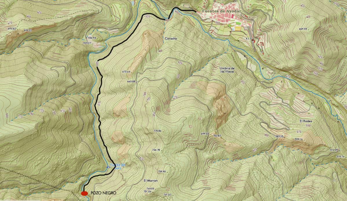 Ruta al Pozo Negro desde Fuentes de Ayodar