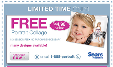 there are some great deals at sears portrait studio free portrait