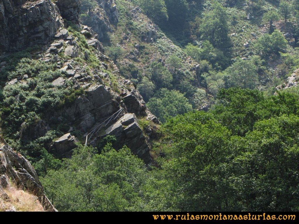 Ruta Hoces del Esva: Vista del camino con escaleras y valla