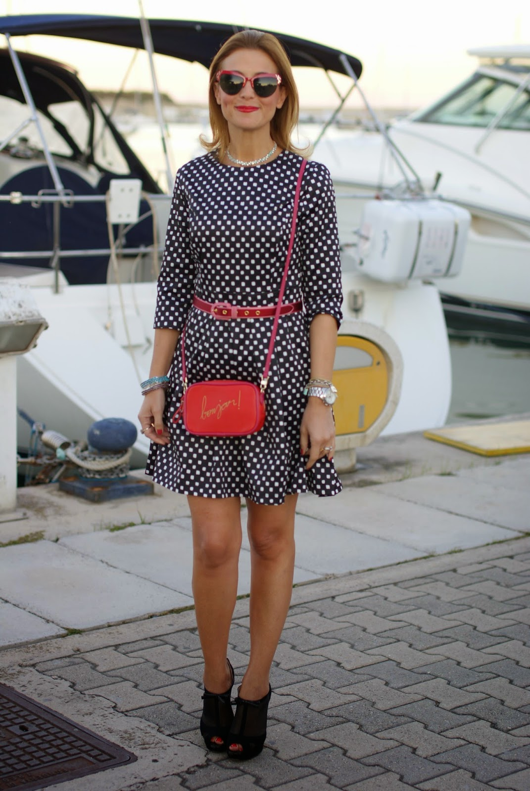 polka dots dress, bonjour bag, Luca Barra collana, Islo shoes, Fashion and Cookies, fashion blogger