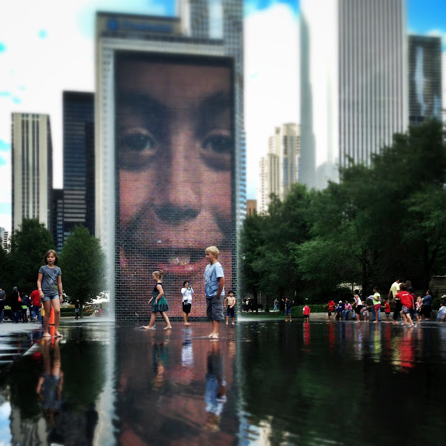 The Crown Fountain in Millennium Park Chicago