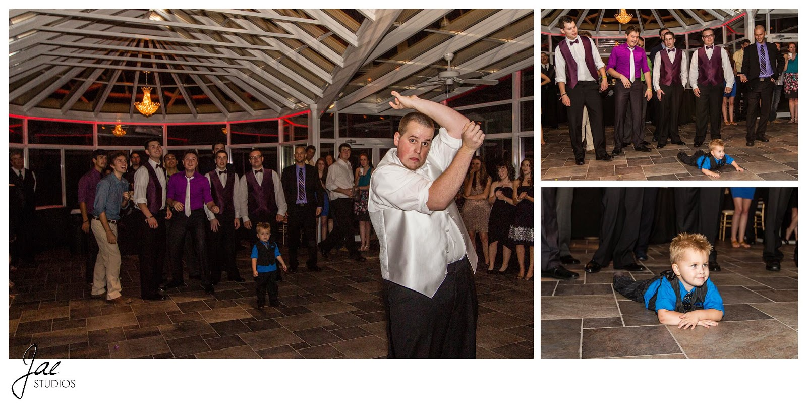 Jonathan and Julie, Bird cage, West Manor Estate, Wedding, Lynchburg, Virginia, Jae Studios, garter toss, groom, bride, child, groomsmen, single men
