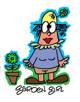 Boon cartooninst for hire draws Garden Girl cartoon humorous illustration