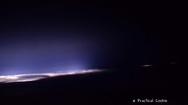 Lightning in the clouds taken from an airplane