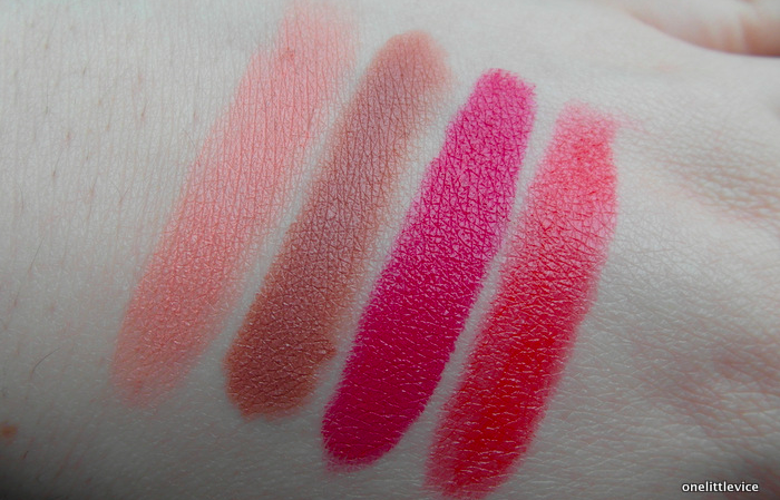 one little vice beauty blog: topshop lipstick whimsical wild about beauty cherrie swatch