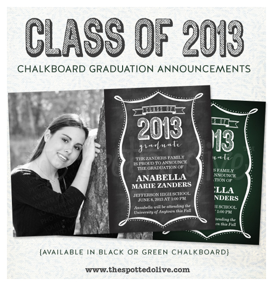 Class of 2013 Chalkboard Graduation Announcements by The Spotted Olive