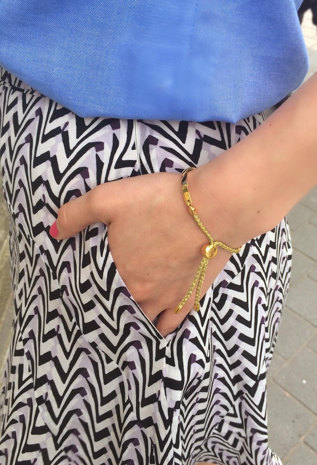 monica vinader fiji bracelet, reiss skirt, printed skirt