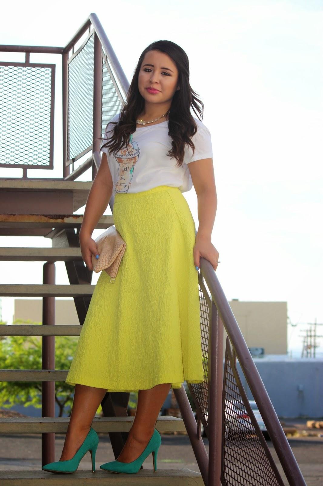 midi circle skirt, full neon skirt, a line neon skirt, midi skirt, neoprene skirt