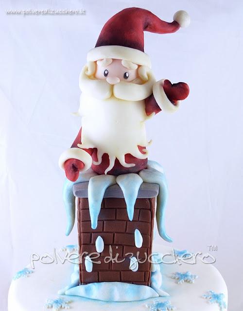 torta natalizia: babbo natale nel comignolo, torta di natale simpatica!