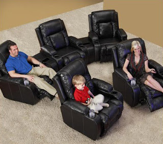 Family Enjoying Catnapper Top Gun Home Theater Seats
