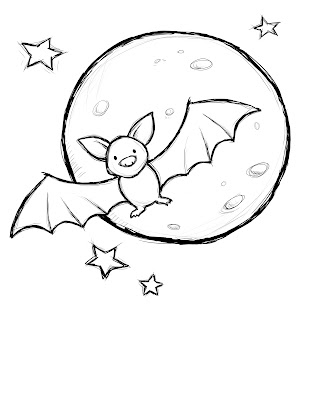 Happy Halloween Cute Bat Coloring Page