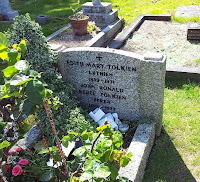 "The Tolkiens' grave, inscribed with ""Luthien"" and ""Beren"" as well as their own names"
