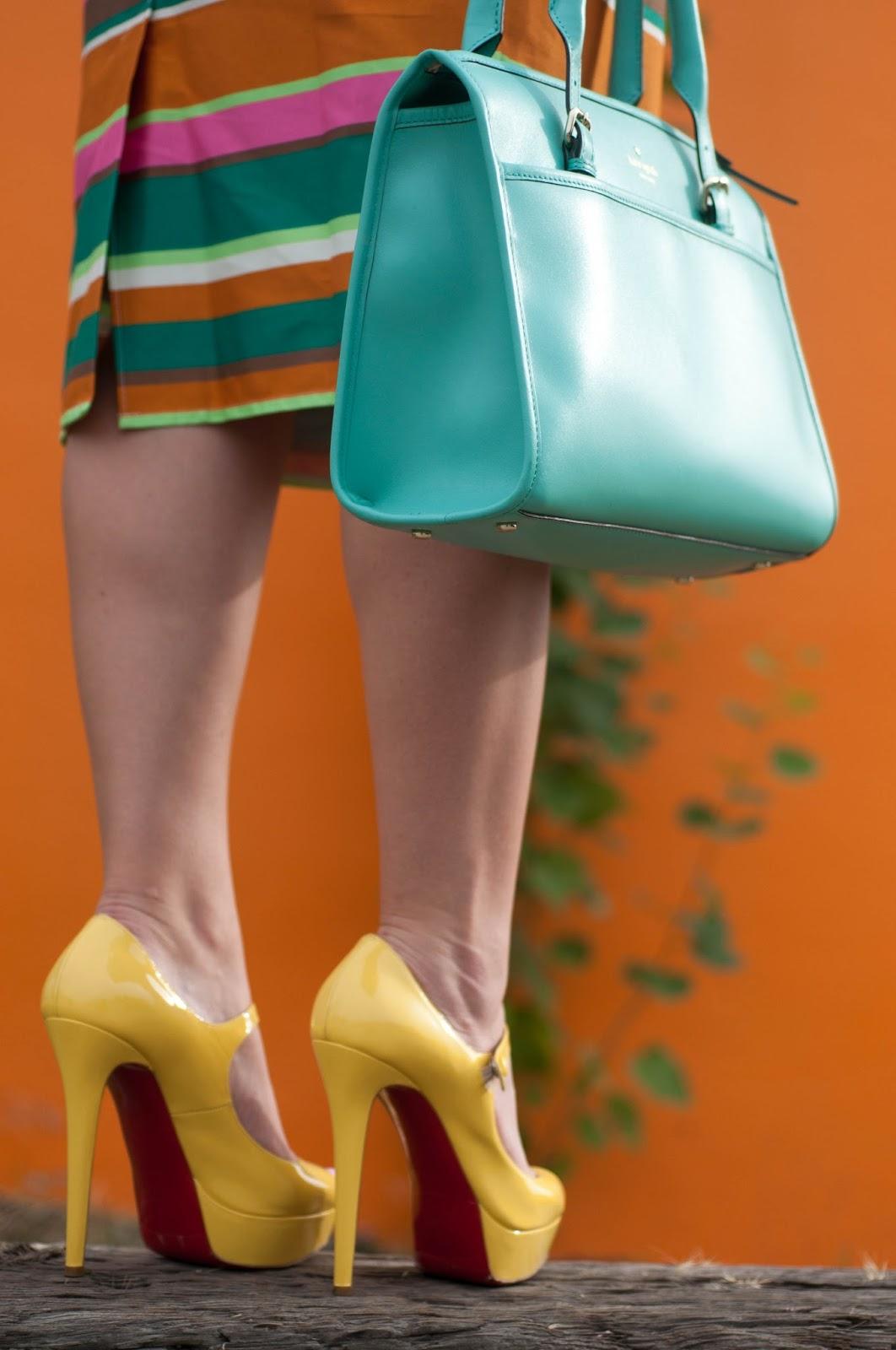 yellow heels, red soles, christian louboutin heels, kate spade handbag, asos skirt, striped skirt