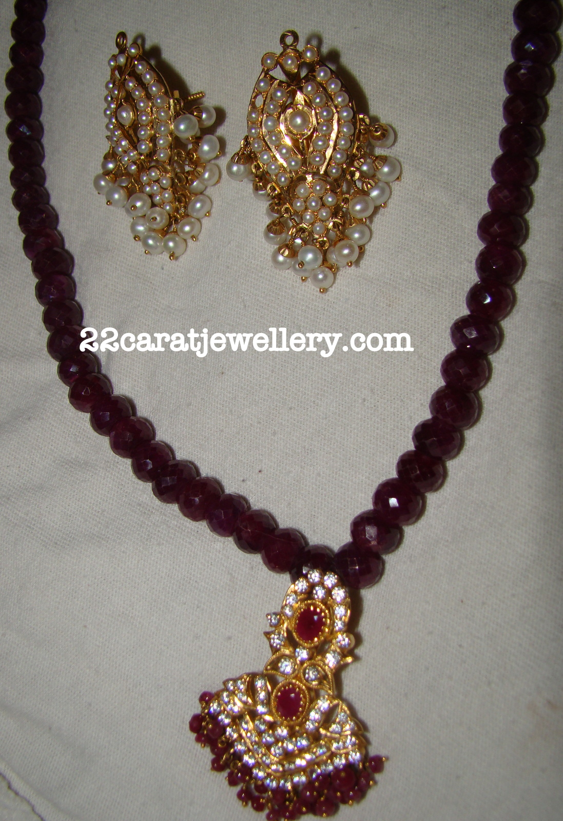 My Ruby Beads Long Chain With Cz Pendant Jewellery Designs