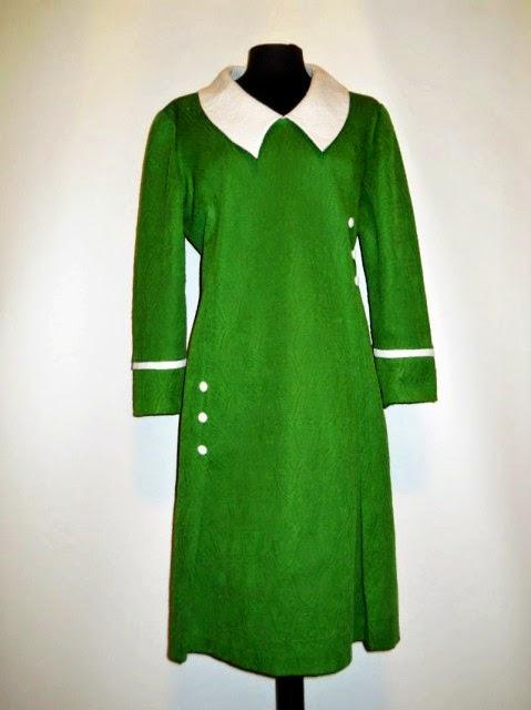 Rochie mod verde cu alb anii '60