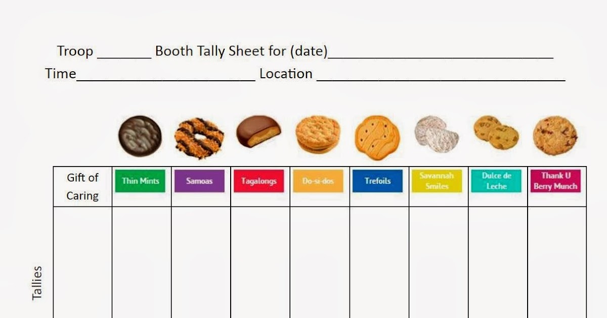 girl scouts   triad service unit cookie booth tally sheet