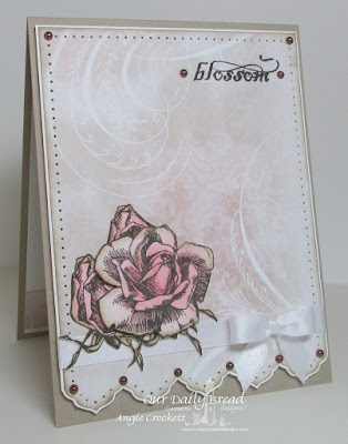 ODBD Blossom, ODBD Shabby Rose Paper Collection, ODBD Custom Antique Labels and Border Dies, Card Designer Angie Crockett
