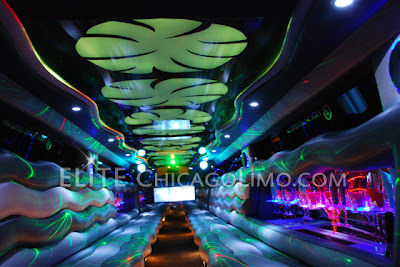 Bright ceiling lights in the Chicago Hummer H2 stretch limousine