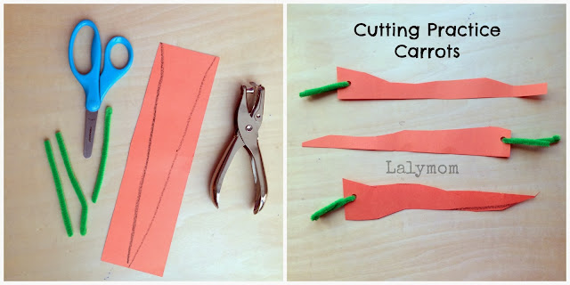 Cutting Practice Carrots Idea for Kids from Lalymom