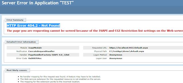 HTTP Error 404.2 in IIS