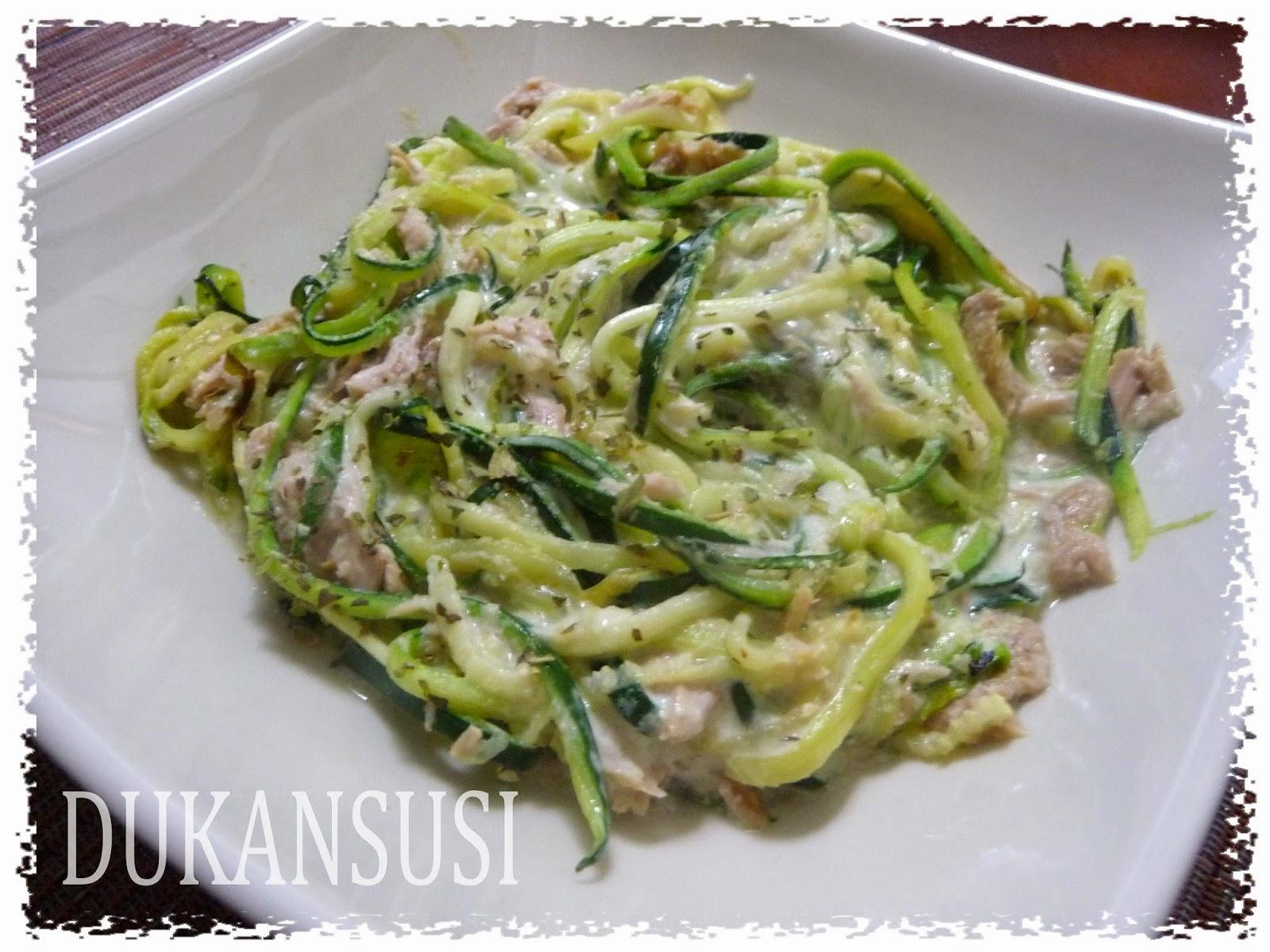 Recetas dukan dukansusi espagueti de calabac n con at n y nata ligera - Espagueti con gambas y nata ...