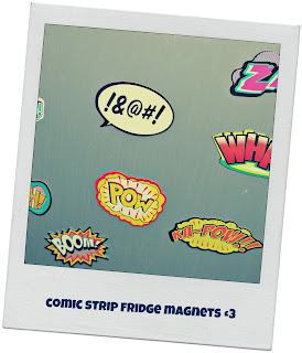 fridge magnets, comic strip, kapow, boom, thwack