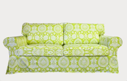 Ektorp sleeper cover in Lime Baligate from Knesting