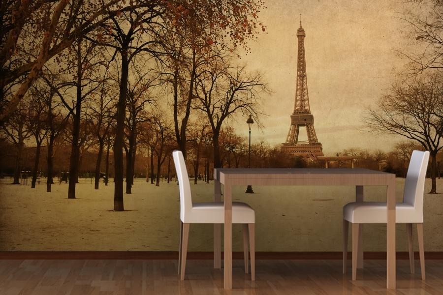 Vintage Paris Mural Wallpaper Room