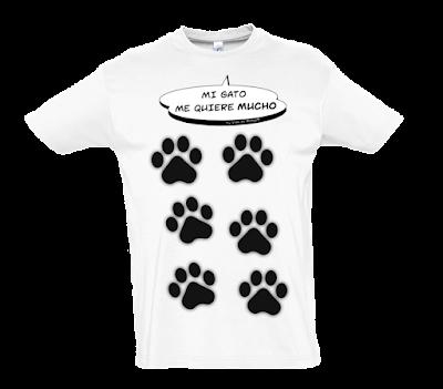 "Camiseta manga corta para hombre ""Amor gatuno"" color blanco"