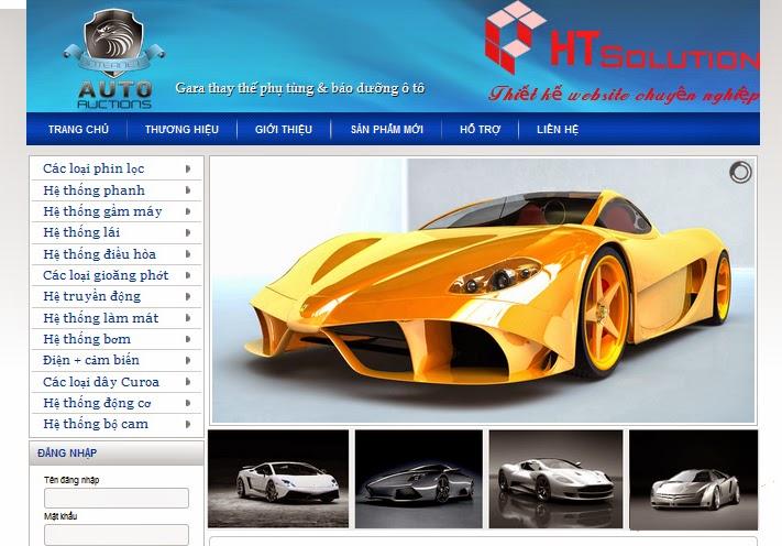 Thiết kế website thay thế phụ tùng và bảo dưỡng ô tô