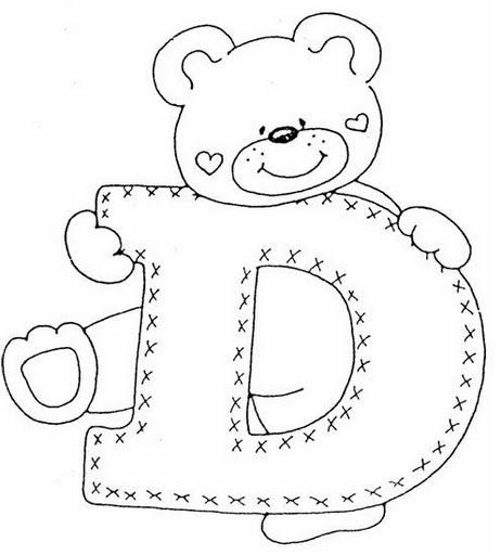 COLOREA TUS DIBUJOS: Abecederio de Osito corazon para colorear letra D