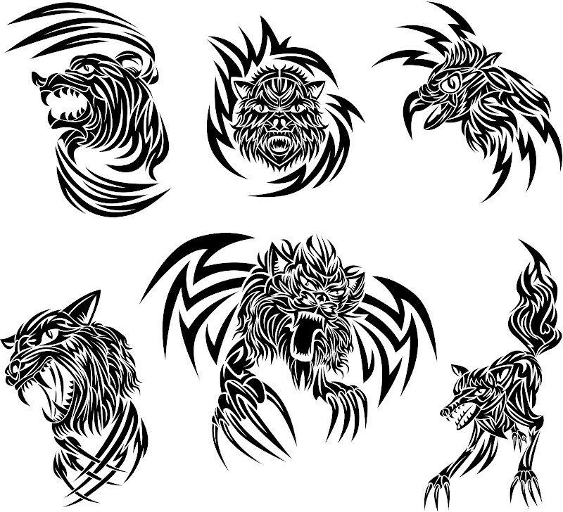 Animales tribal vector title=