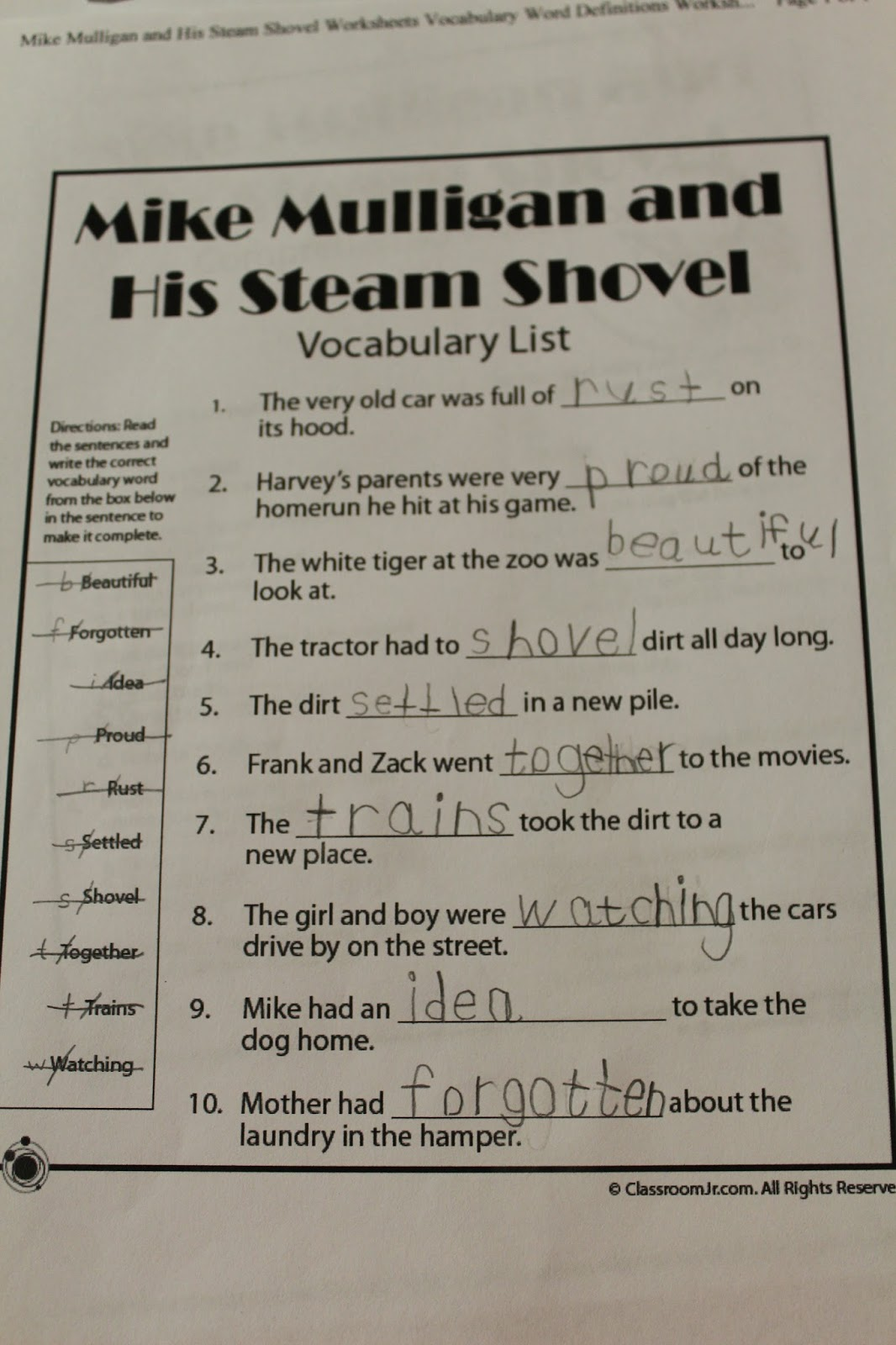 Worksheets What Do You Call A Duck That Steals Worksheet Answers spark and all mike mulligan his steam shovel
