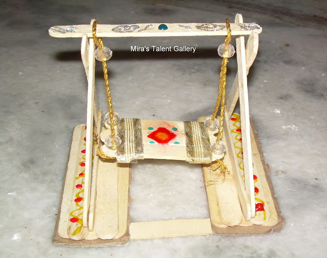 For A Long Time Thought Of Making Small Swing Jhoola Using Popsicle Sticks Finally Gave It Try Today Ofcourse With Lot Re Works And Here Is