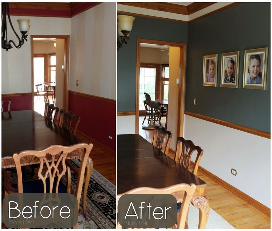 Inexpensive Dining Room Makeover #neutral #DIY #Makeover #Paint #ChairRail
