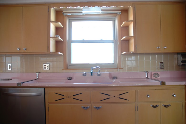 vintage kitchen, retro kitchen, pink kitchen, kitchen sixties