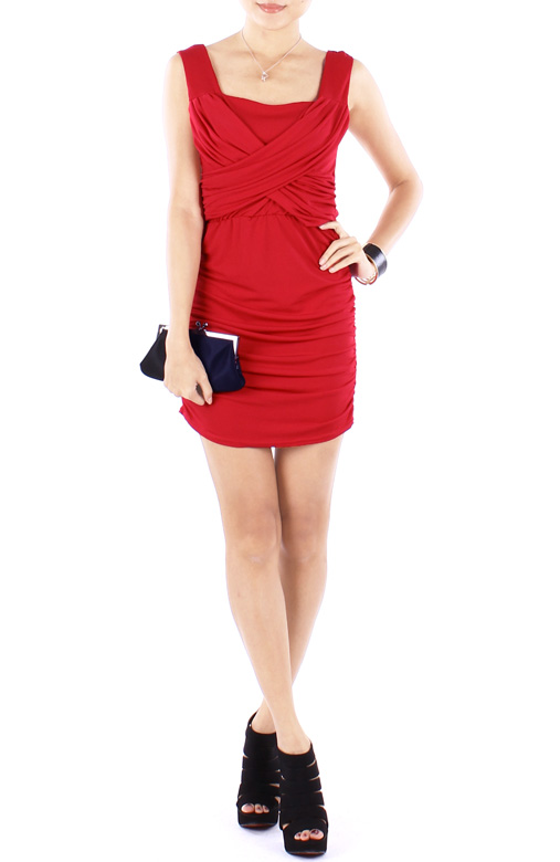 Chilli Red Ritzy Ruched Bodycon Party Dress