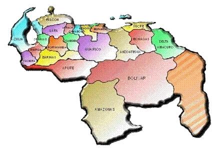 Mapa de Venezuela / Mapa de Venezuela con sus estados y