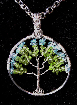 Tree of life with peridot and aqua glass