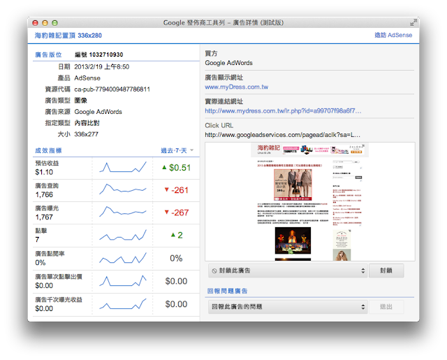 Google Publisher Toolbar 顯示廣告資訊