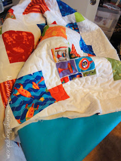 Bot Baby quilt, ready for some binding