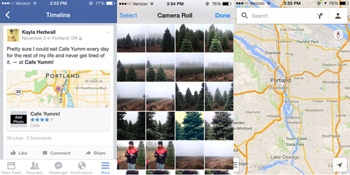 iPhone screenshots of Facebook, Camera roll, Google Maps